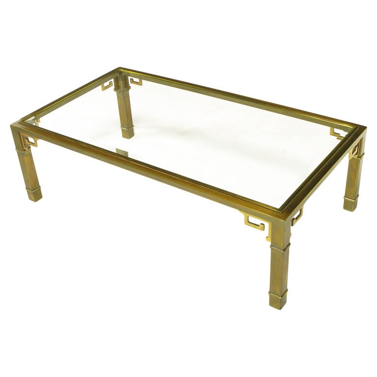 Mastercraft Patinated Brass Greek Key Coffee Table 1