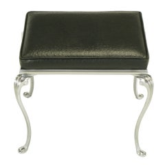 Polished Aluminum Bench With Ostrich Embossed Leather
