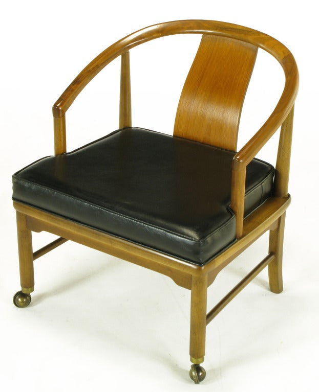 Four Asian Modern Yoke Back Dining Chairs In Good Condition For Sale In Chicago, IL