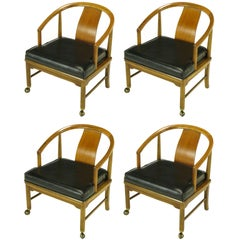 Four Asian Modern Yoke Back Dining Chairs