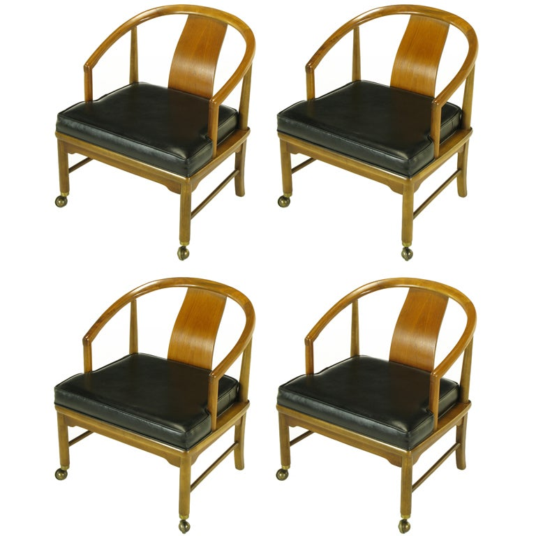 Four Asian Modern Yoke Back Dining Chairs For Sale