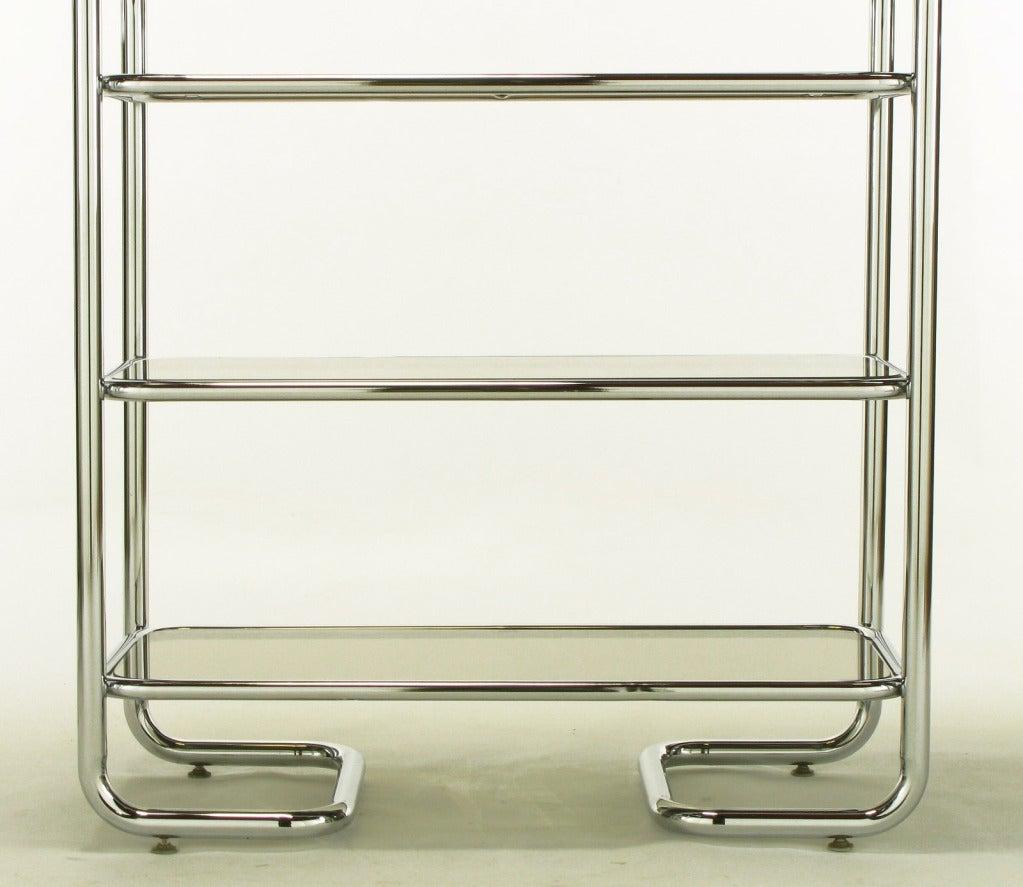 Tubular Chrome and Smoked Glass Five Shelf Etagere. at 1stdibs