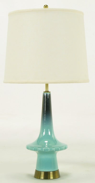 1950s Aqua U0026 Midnight Blue Pottery Table Lamp