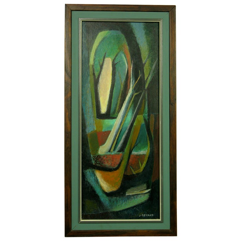Colorful acrylic on board abstract with green, black, orange, cream and gold in the design.
