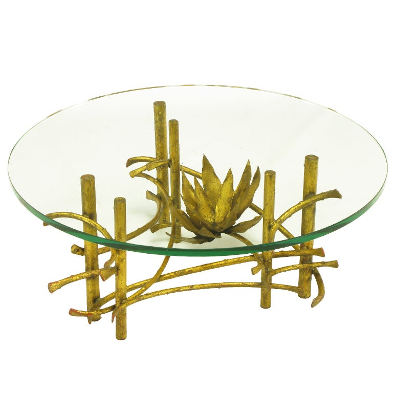 Brutalist Gilt Iron Lotus Coffee Table in the Manner of Silas Seandel