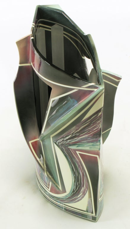 20th Century Signed Abstract Ceramic Sculpture Table For Sale