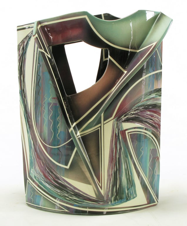 Signed Abstract Ceramic Sculpture Table For Sale 1