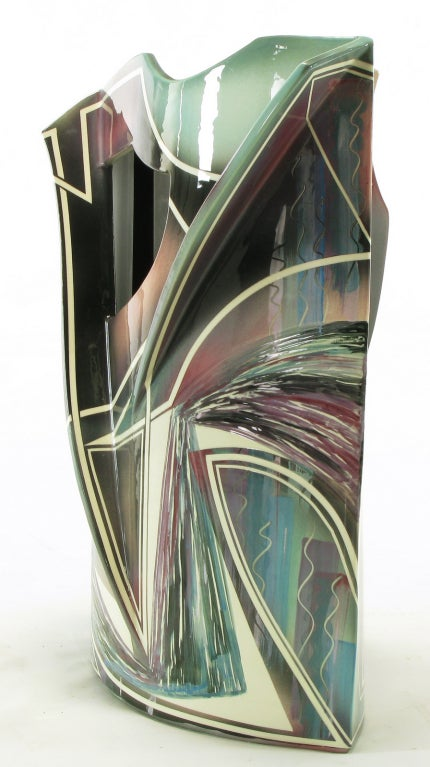 Signed Abstract Ceramic Sculpture Table For Sale 2