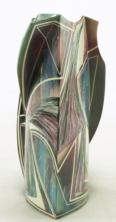 Signed Abstract Ceramic Sculpture Table For Sale 3