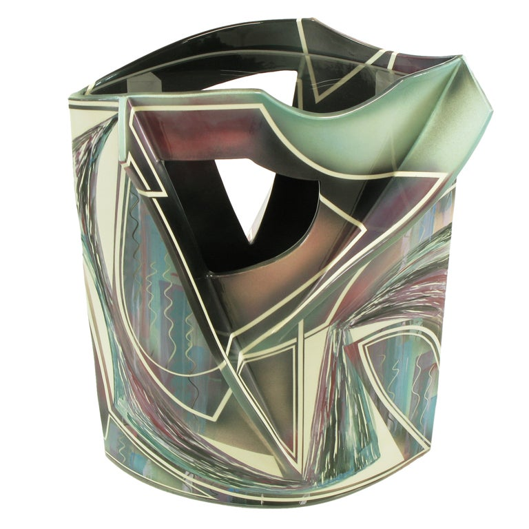 Signed Abstract Ceramic Sculpture Table For Sale