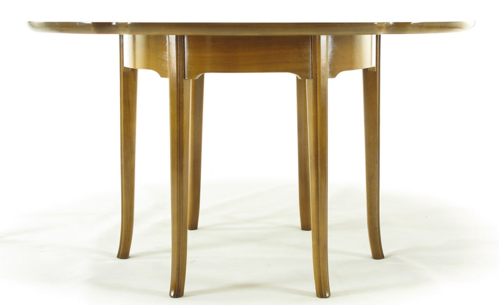 Mid-20th Century Six-Leg Mahogany Game Table with Hexafoil Top For Sale