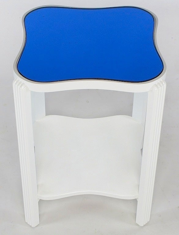 Art Deco Two Tier White Lacquer And Blue Mirror Side Table