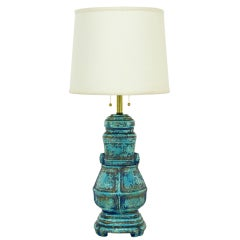 Turquoise Glazed Urn Form Table Lamp