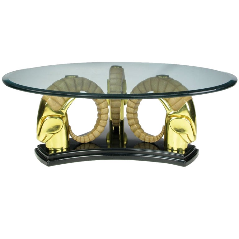 Stylized Deco Moderne Brass Ibyx Coffee Table