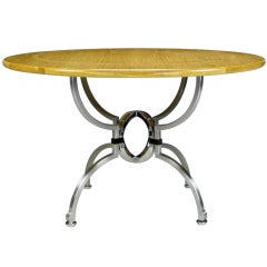 Jay Spectre Eclipse Dining Table In White Oak & Steel