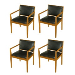 Four Interior Crafts Ash & Leather Arm Chairs