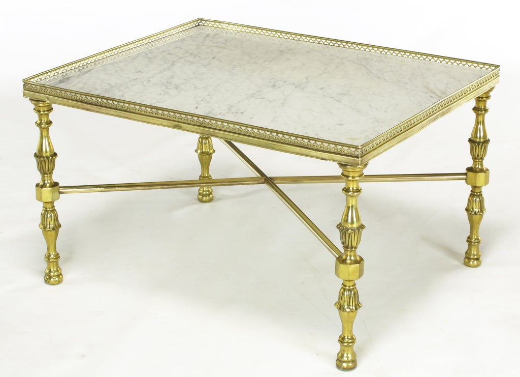 Galleried brass and carrera marble side tables at 1stdibs for Table carrera