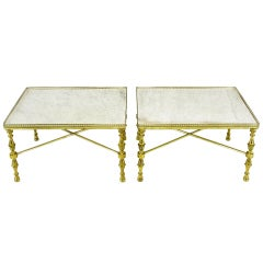 Galleried Brass & Carrera Marble Side Tables