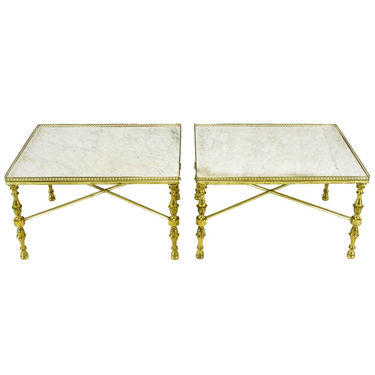 Galleried Brass And Carrera Marble Side Tables At 1stdibs