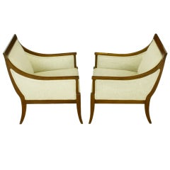Pair Wood Framed Regency Lounge Chairs With Tight Cushions