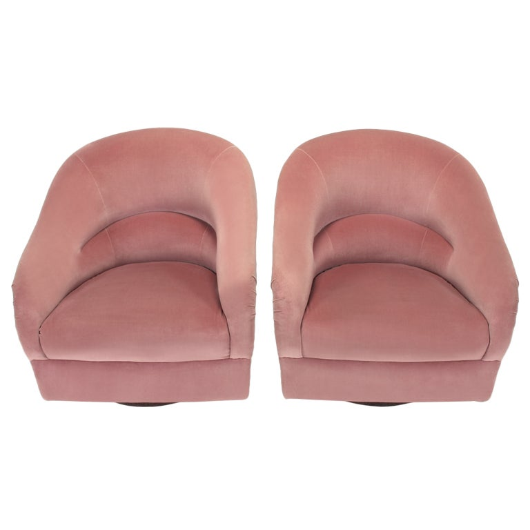 Pair Ward Bennett Barrel Back Swivel Chairs at 1stdibs