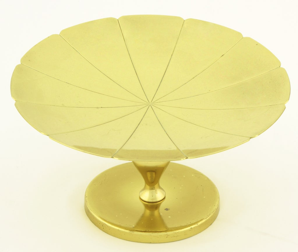 Tommi Parzinger for Dorlyn brass footed compote. Thin scalloped edge dish with incised sunburst design with pedestal and round base.