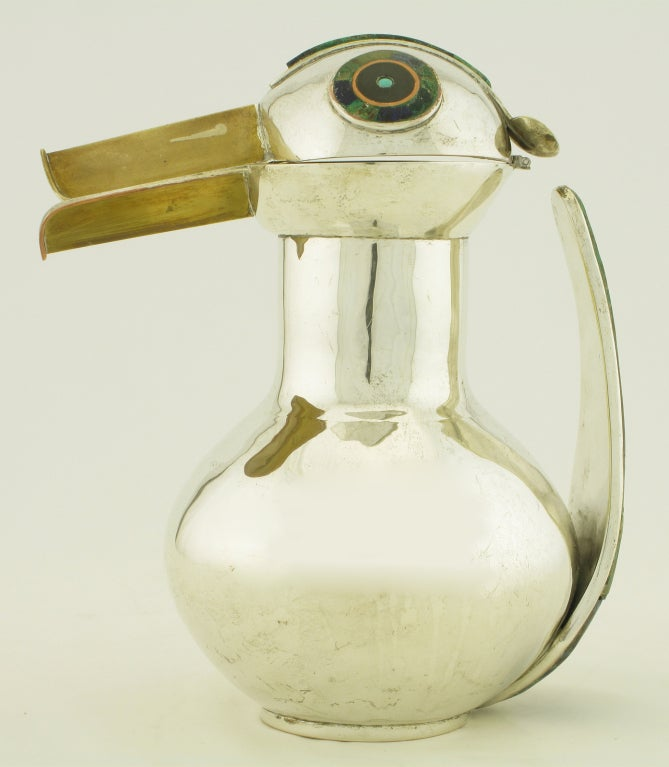 Los Castillos Silver & Inlaid Stone Duck Pitcher For Sale 1