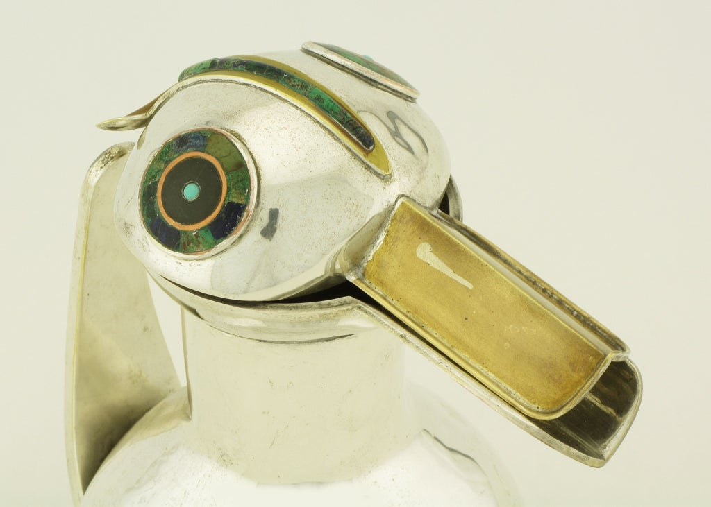 Los Castillos Silver & Inlaid Stone Duck Pitcher For Sale 2