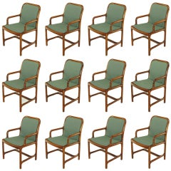 Twelve Helikon Arm Chairs With Sculpted Cherry Frames