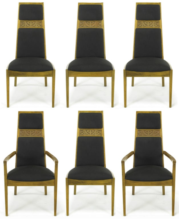 Set of six-light ashwood dining chairs with striped dark brown silk blend upholstery by Kroehler. Set includes two armchairs and four side chairs; tall backs with inset cast resin applique and well-proportioned seat.  Measures: armchair 21.5