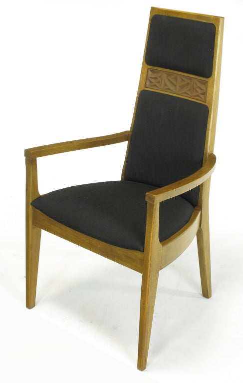 six sculpted ash tall back kroehler dining chairs for sale at 1stdibs