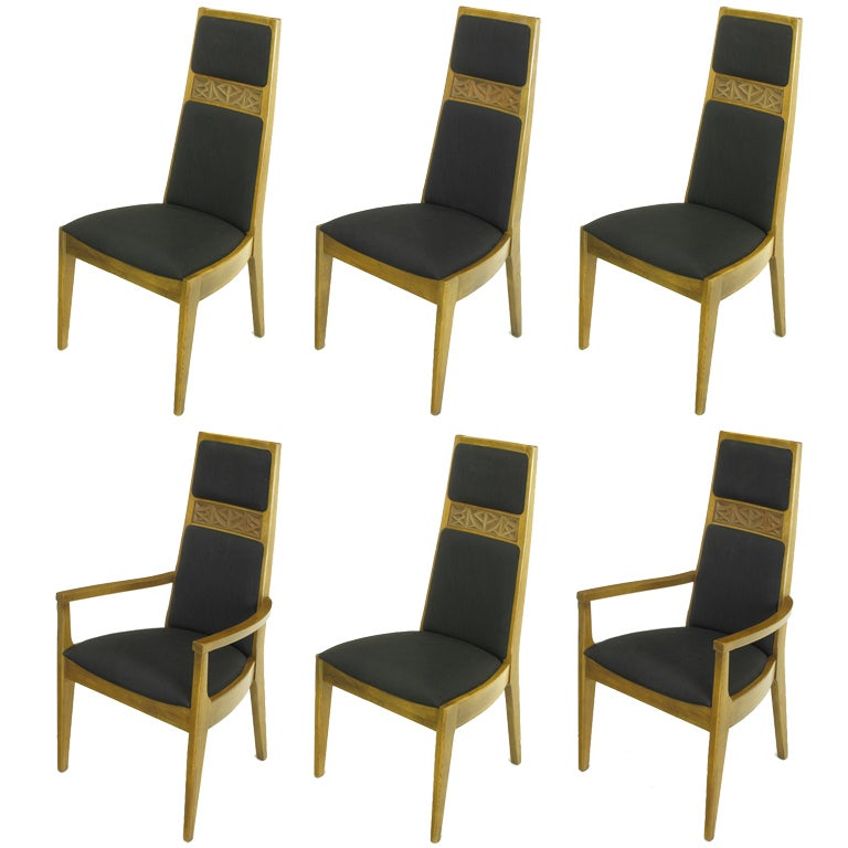 Six Sculpted Ash Tall Back Kroehler Dining Chairs For Sale