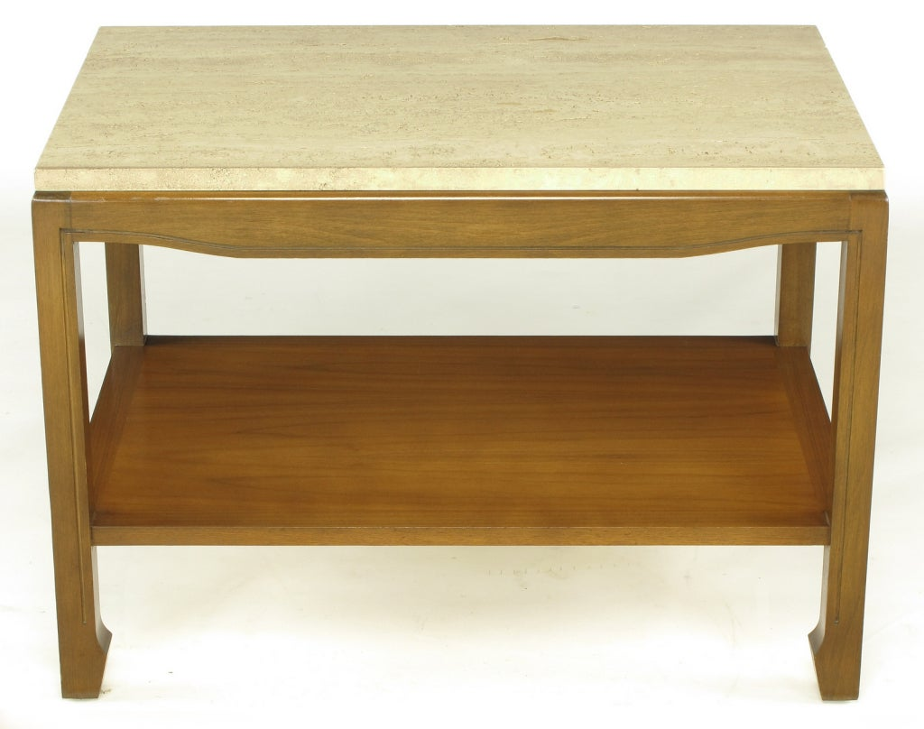 Walnut wood two-tier end table with travertine top. Slight Asian influence with incised chow legs and tapered end apron. Excellent build quality on par with that of vintage Baker or Heritage Henredon.