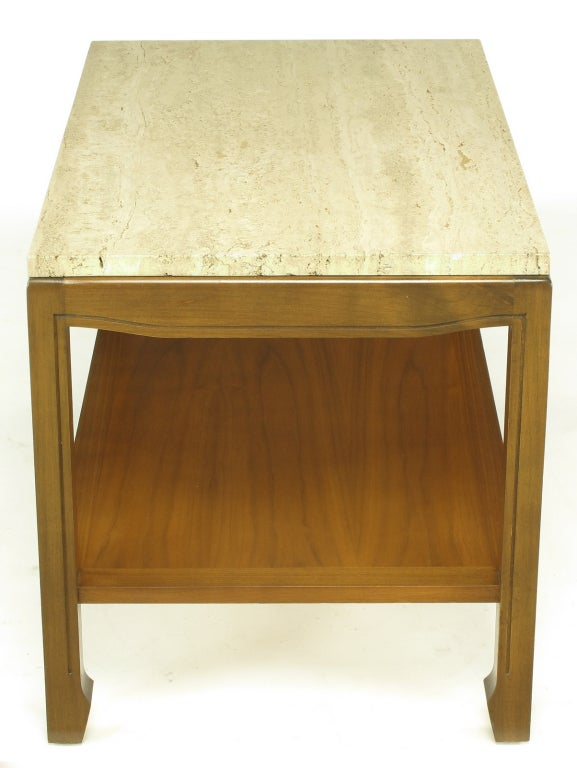 American Walnut and Travertine Two-Tier End Table For Sale