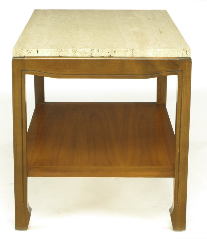 Walnut and Travertine Two-Tier End Table In Good Condition For Sale In Chicago, IL