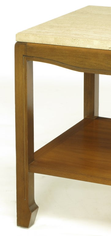 Mid-20th Century Walnut and Travertine Two-Tier End Table For Sale