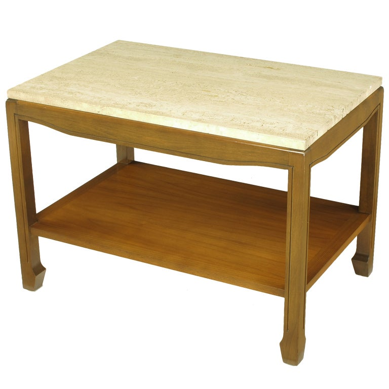 Walnut and Travertine Two-Tier End Table For Sale