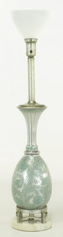 American Pair of Reverse Silvered and Hand-Painted Glass Table Lamps For Sale