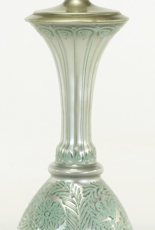 Mid-20th Century Pair of Reverse Silvered and Hand-Painted Glass Table Lamps For Sale