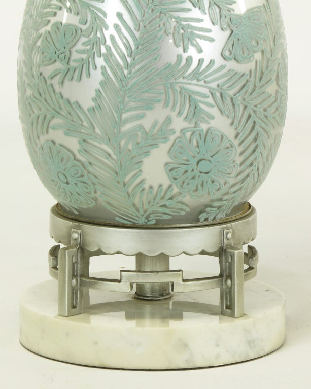 Pair of Reverse Silvered and Hand-Painted Glass Table Lamps For Sale 1