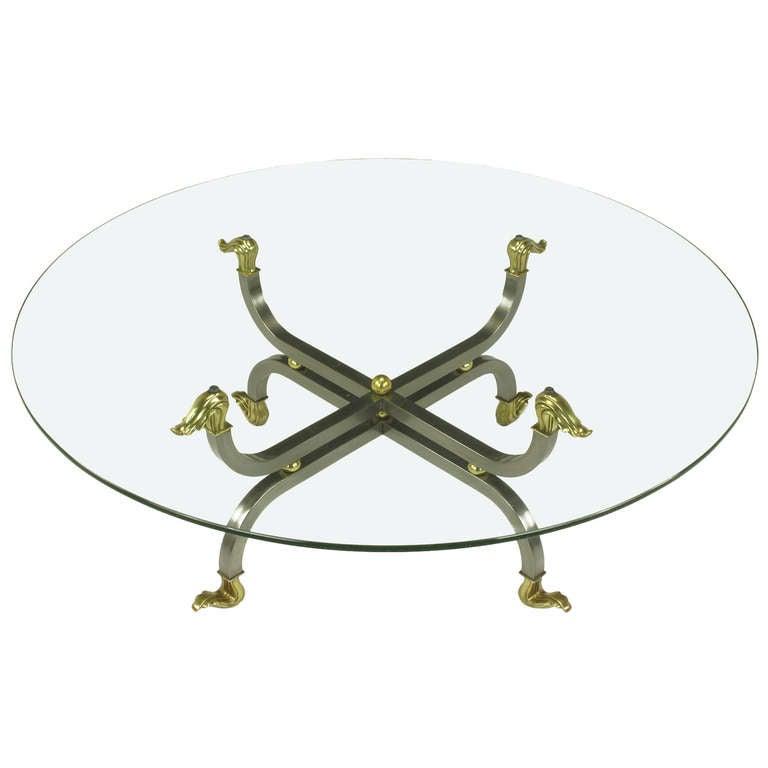 Regency Brass & Gunmetal Coffee Table For Sale