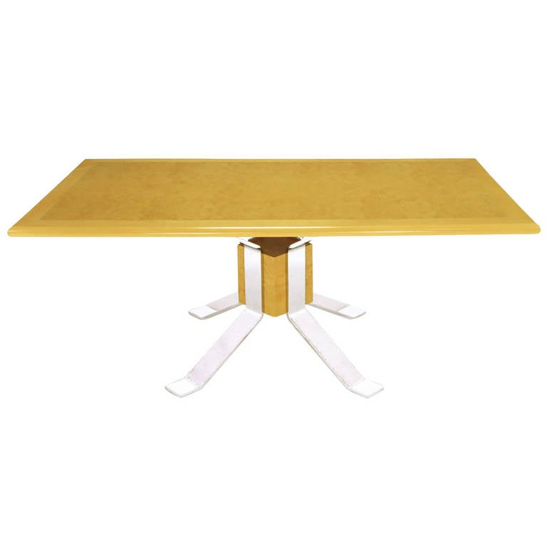 Pace Collection Chrome and Burl Dining Table