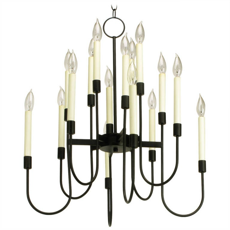 Lightolier Sixteen-Arm, Black Lacquer Chandelier For Sale