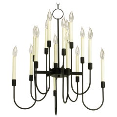 Lightolier Sixteen-Arm, Black Lacquer Chandelier