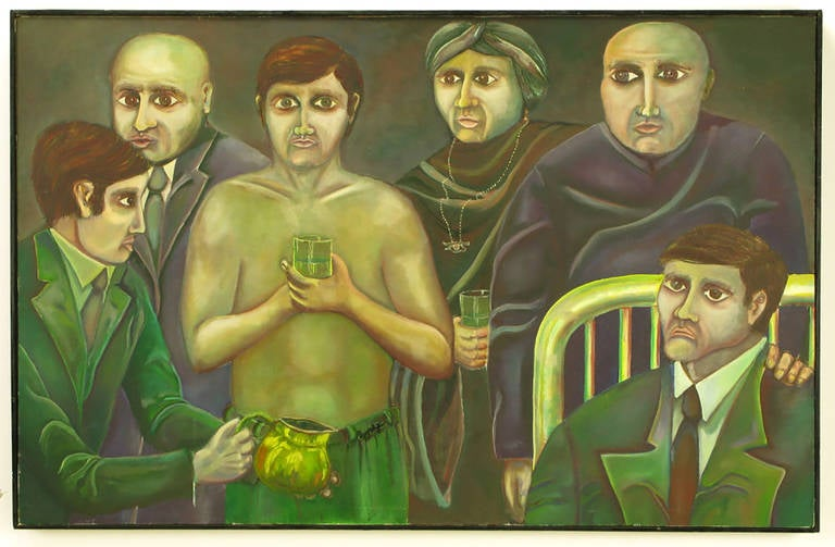 Oil on canvas of people in the German Expressionism style. The German Expressionism style was to typically distort scale, shape and color to convey a mood or feeling. In this painting the eyes are much larger and almost all exactly the same