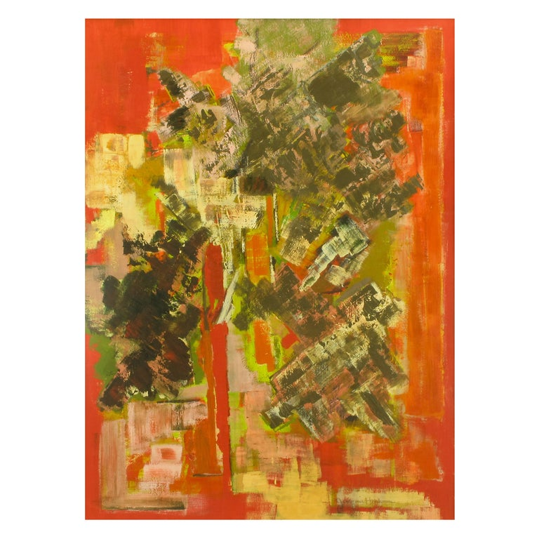 Vibrant Persimmon, Brown and Chartreuse Abstract Acrylic on Poster Board Signed For Sale