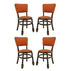 Four Uncommon Walnut and Persimmon Baluster Leg Dining Chairs with Round Seats