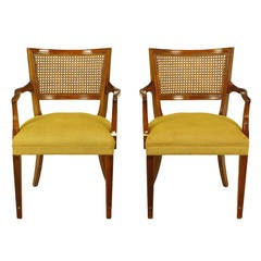 Pair of Carved Mahogany Cane-Back Armchairs, circa 1950s