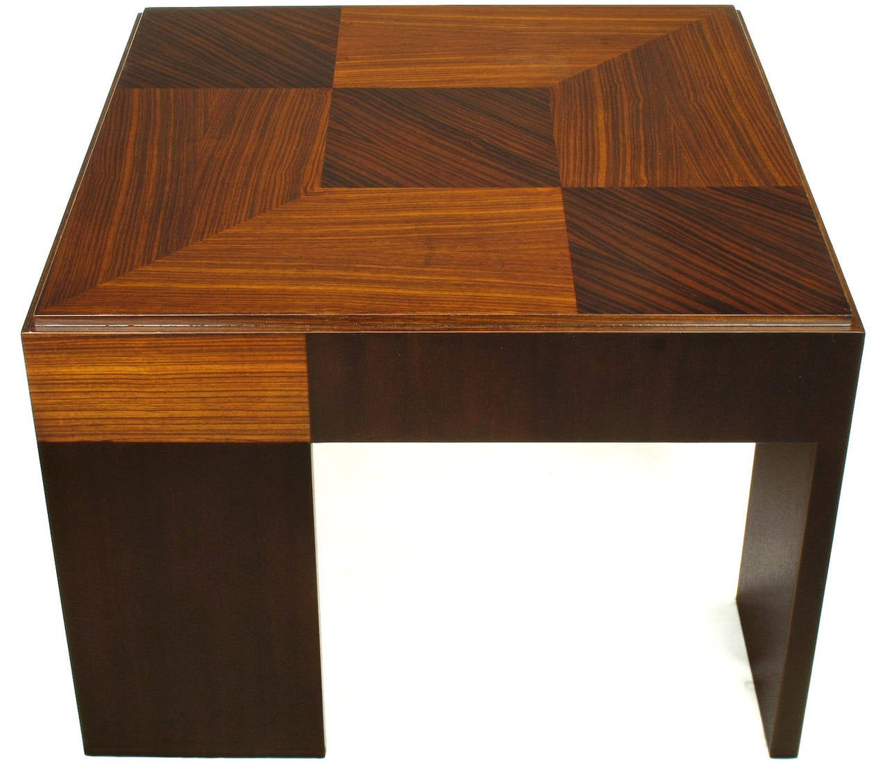 Bexley Heath for John Widdicomb parquetry top petite coffee table. Offset walnut plank legs, bleached and natural Macassar ebony top in geometric checker board pattern.