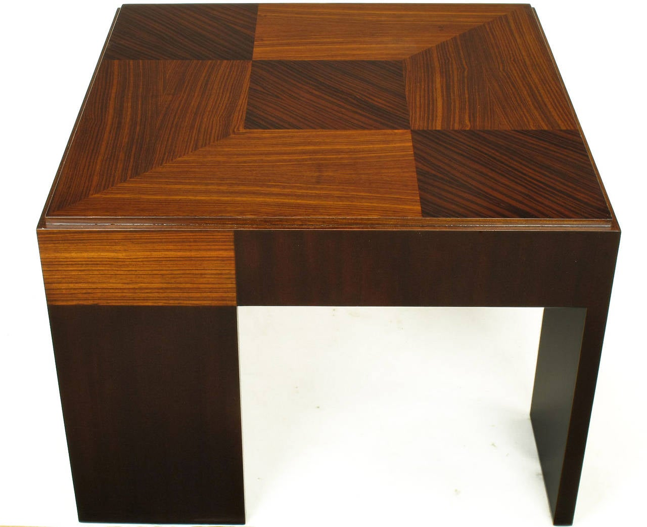 American John Widdicomb Natural and Bleached Macassar Ebony and Walnut Coffee Table For Sale